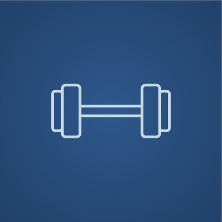 light blue: Dumbbell line icon for web, mobile and infographics. Vector light blue icon isolated on blue background.