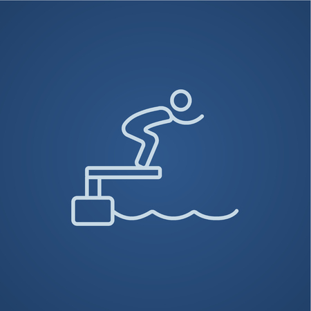 diving platform: Swimmer jumping from starting block in pool line icon for web, mobile and infographics. Vector light blue icon isolated on blue background.