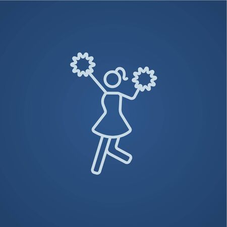 cheerleading: Cheerleader line icon for web, mobile and infographics. Vector light blue icon isolated on blue background.