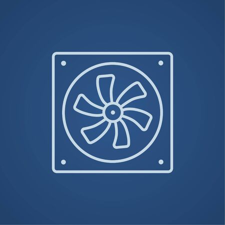 Computer cooler line icon for web, mobile and infographics. Vector light blue icon isolated on blue background.