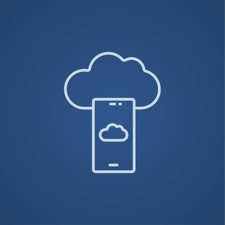 Cloud and smartphone line icon for web, mobile and infographics. Vector light blue icon isolated on blue background.