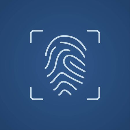 scanning: Fingerprint scanning line icon for web, mobile and infographics. Vector light blue icon isolated on blue background.