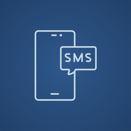 Smartphone with message line icon for web, mobile and infographics. Vector light blue icon isolated on blue background.