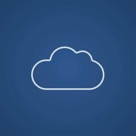 synchronizing: Cloud computing line icon for web, mobile and infographics. Vector light blue icon isolated on blue background. Illustration