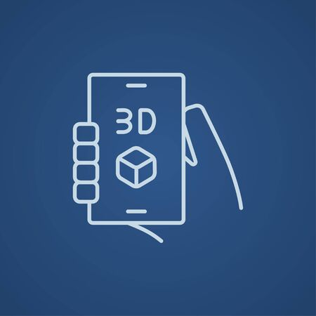 three d: Smartphone with three D box line icon for web, mobile and infographics. Vector light blue icon isolated on blue background.