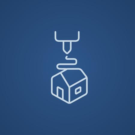 Arbre D icône de la ligne d'impression pour le Web, mobile et infographies. icône bleue vecteur de lumière isolé sur fond bleu. Banque d'images - 49741880