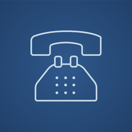 contact icon: Telephone line icon for web, mobile and infographics. Vector light blue icon isolated on blue background. Illustration