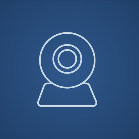 Web camera line icon for web, mobile and infographics. Vector light blue icon isolated on blue background. Illustration