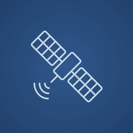 Satellite line icon for web, mobile and infographics. Vector light blue icon isolated on blue background.