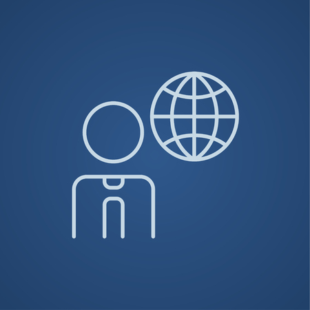 transnational: Man with globe line icon for web, mobile and infographics. Vector light blue icon isolated on blue background.