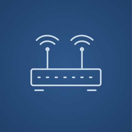 wireless icon: Wireless router line icon for web, mobile and infographics. Vector light blue icon isolated on blue background. Illustration