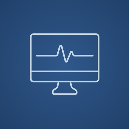 heart monitor: Heart beat monitor line icon for web, mobile and infographics. Vector light blue icon isolated on blue background. Illustration