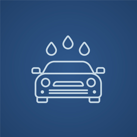 car wash: Car wash line icon for web, mobile and infographics. Vector light blue icon isolated on blue background.