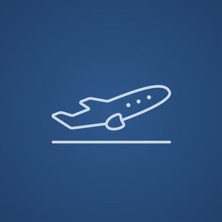 taking off: Plane taking off line icon for web, mobile and infographics. Vector light blue icon isolated on blue background. Illustration