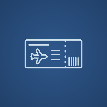 business class travel: Flight ticket line icon for web, mobile and infographics. Vector light blue icon isolated on blue background.