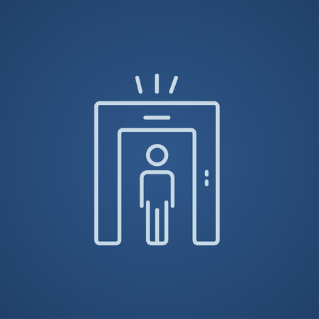 detecting: Man going through metal detector gate line icon for web, mobile and infographics. Vector light blue icon isolated on blue background. Illustration