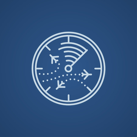 blip: Radar screen with planes line icon for web, mobile and infographics. Vector light blue icon isolated on blue background.
