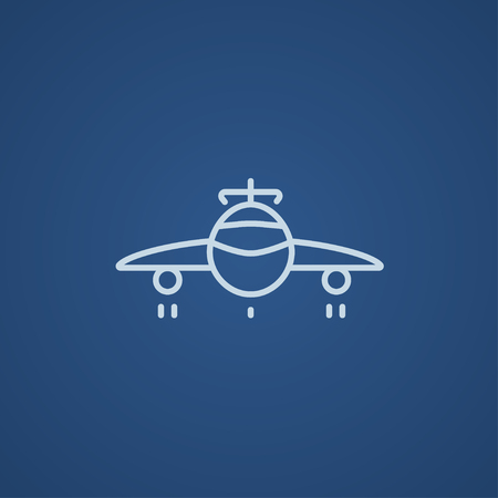 undercarriage: Airplane line icon for web, mobile and infographics. Vector light blue icon isolated on blue background.