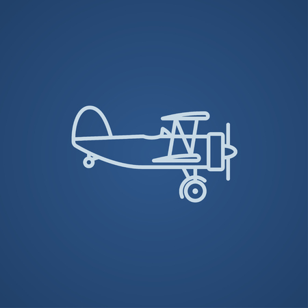 Propeller plane  line icon for web, mobile and infographics. Vector light blue icon isolated on blue background.