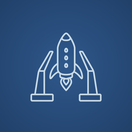 takeoff: Space shuttle on a take-off area line icon for web, mobile and infographics. Vector light blue icon isolated on blue background.