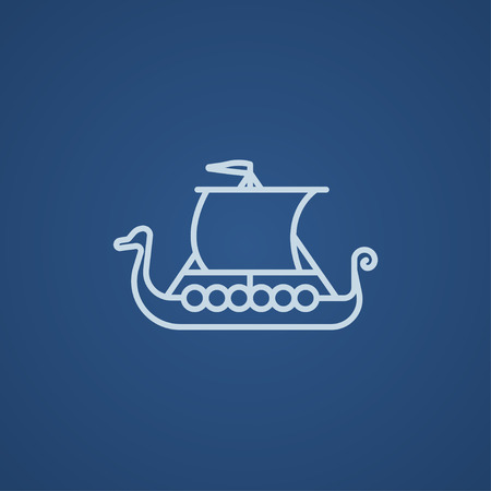 shallop: Old ship line icon for web, mobile and infographics. Vector light blue icon isolated on blue background.