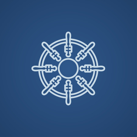 Helm line icon for web, mobile and infographics. Vector light blue icon isolated on blue background.