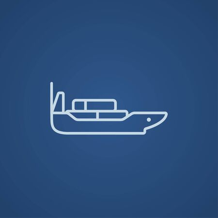Cargo container ship line icon for web, mobile and infographics. Vector light blue icon isolated on blue background.