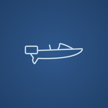 blue sea: Motorboat line icon for web, mobile and infographics. Vector light blue icon isolated on blue background.