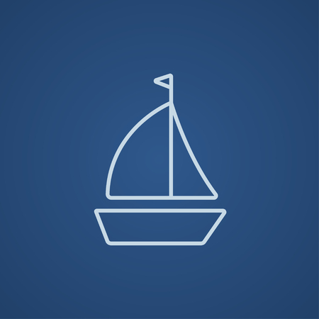Sailboat line icon for web, mobile and infographics. Vector light blue icon isolated on blue background. 向量圖像