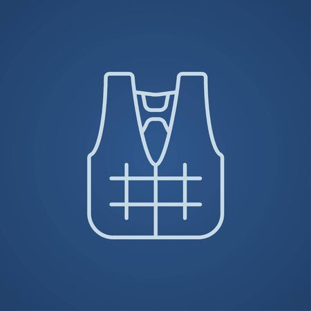 vest in isolated: Life vest line icon for web, mobile and infographics. Vector light blue icon isolated on blue background.