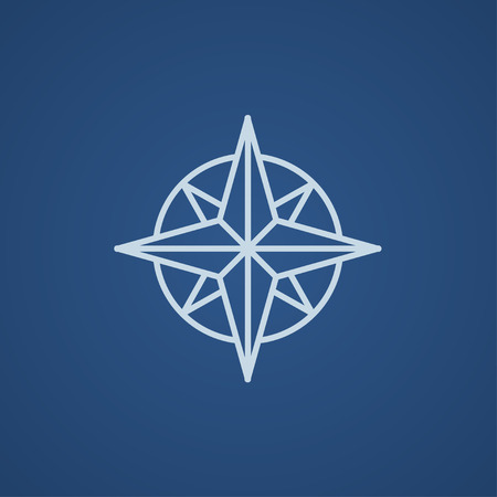 azimuth: Compass wind rose line icon for web, mobile and infographics. Vector light blue icon isolated on blue background.