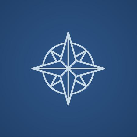 compas de dibujo: El viento del compás se levantó icono de línea para web, móvil y la infografía. Luz Vector icono azul aislado sobre fondo azul.