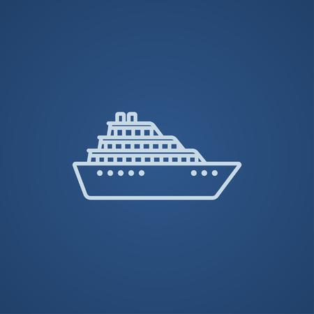 Cruiseschip lijn pictogram voor web, mobiel en infographics. Vector licht blauw pictogram geïsoleerd op een blauwe achtergrond.