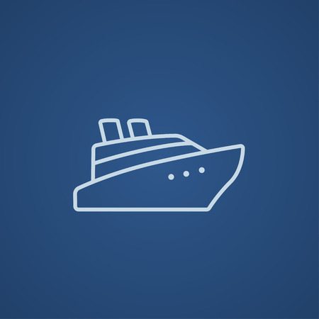 Cruise ship line icon for web, mobile and infographics. Vector light blue icon isolated on blue background.