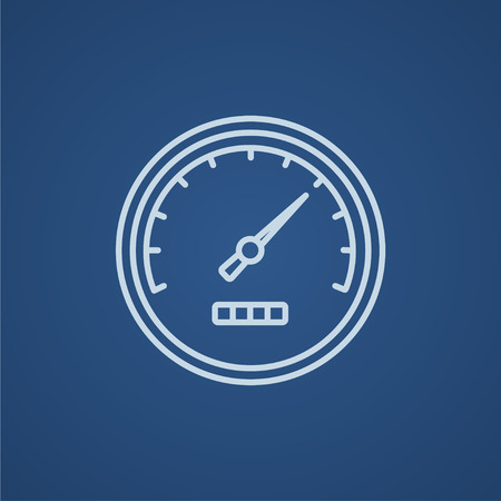 Speedometer line icon for web, mobile and infographics. Vector light blue icon isolated on blue background. Illusztráció