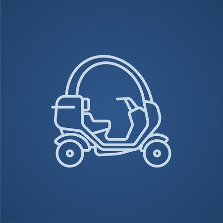 rikscha: Rikscha-Linie Symbol für Web, Mobile und Infografiken. Vector hellblau-Symbol auf blauem Hintergrund.