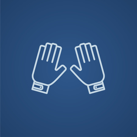 Motorcycle gloves line icon for web, mobile and infographics. Vector light blue icon isolated on blue background.