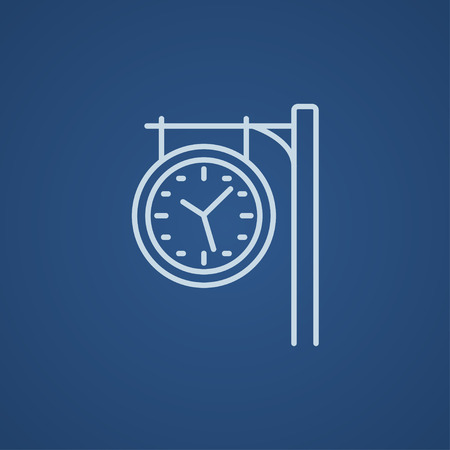 hand rails: Train station clock line icon for web, mobile and infographics. Vector light blue icon isolated on blue background. Illustration