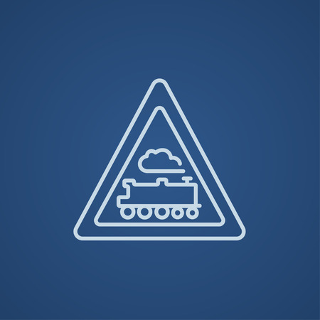 signal pole: Train sign line icon for web, mobile and infographics. Vector light blue icon isolated on blue background.