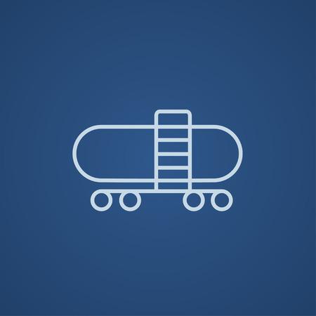 cisterna: icono de la l�nea de tren cisterna para web, m�vil y la infograf�a. ligero del vector icono azul aislado sobre fondo azul. Vectores
