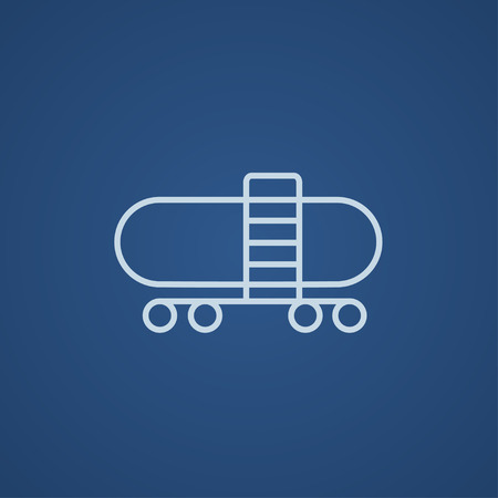 cistern: Railway cistern line icon for web, mobile and infographics. Vector light blue icon isolated on blue background.