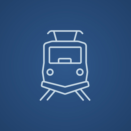 hand rails: Front view of train line icon for web, mobile and infographics. Vector light blue icon isolated on blue background.