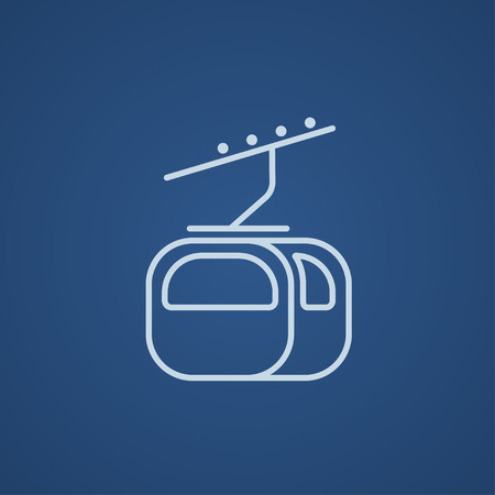 rope way: Funicular line icon for web, mobile and infographics. Vector light blue icon isolated on blue background.