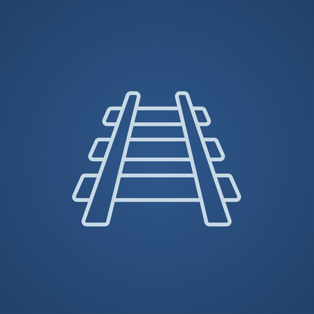 Railway track line icon for web, mobile and infographics. Vector light blue icon isolated on blue background.
