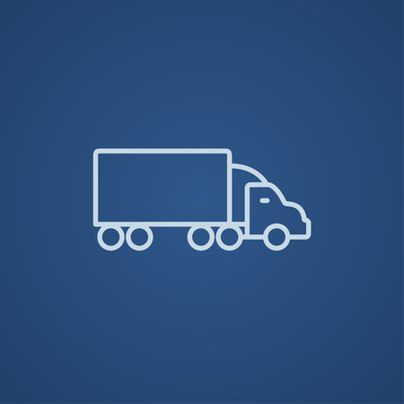 shipment: Delivery truck line icon for web, mobile and infographics. Vector light blue icon isolated on blue background.