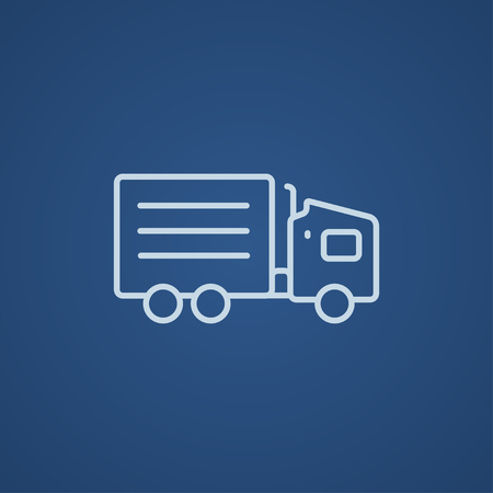 waggon: Delivery truck line icon for web, mobile and infographics. Vector light blue icon isolated on blue background.