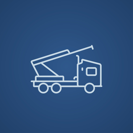 Machine with a crane and cradles line icon for web, mobile and infographics. Vector light blue icon isolated on blue background.