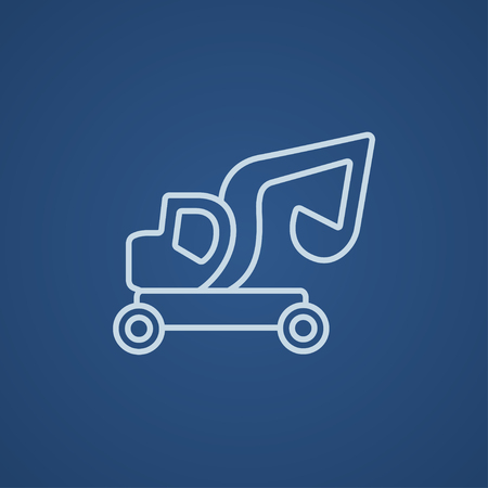 Excavator truck line icon for web, mobile and infographics. Vector light blue icon isolated on blue background.