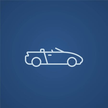 business graphics: Convertible car line icon for web, mobile and infographics. Vector light blue icon isolated on blue background.