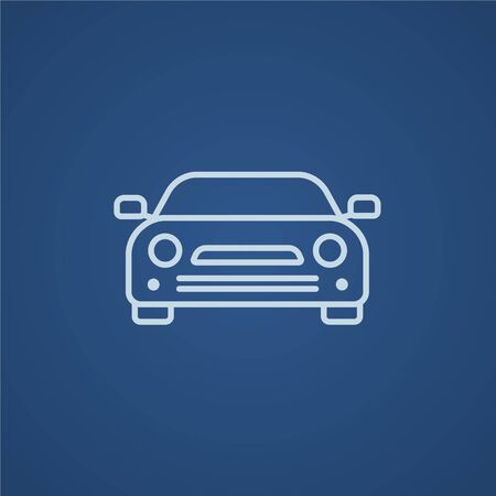 car road: Car line icon for web, mobile and infographics. Vector light blue icon isolated on blue background.